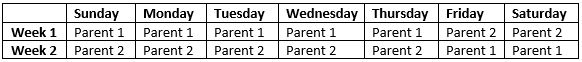 Alternating Week Child Custody Schedule